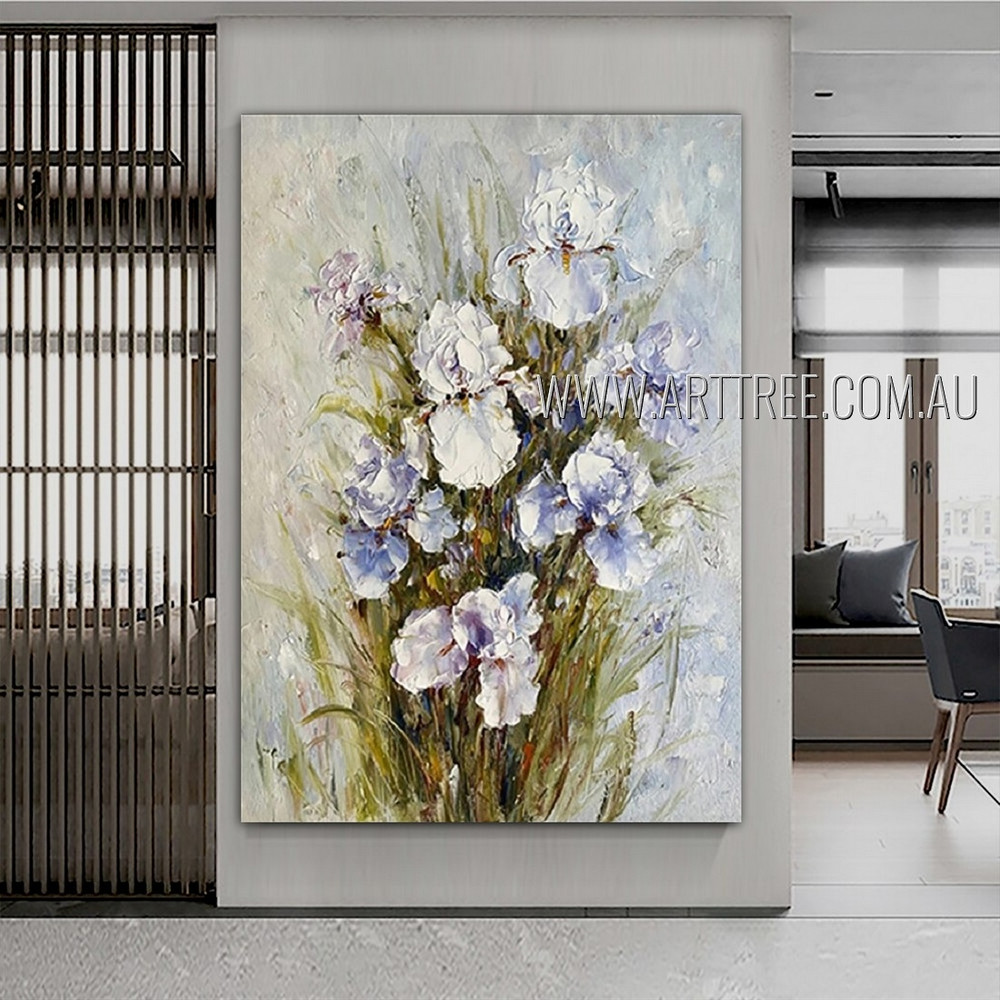 White Irises Abstract Floral Heavy Texture Artist Handmade Flowers Painting For Room Décor