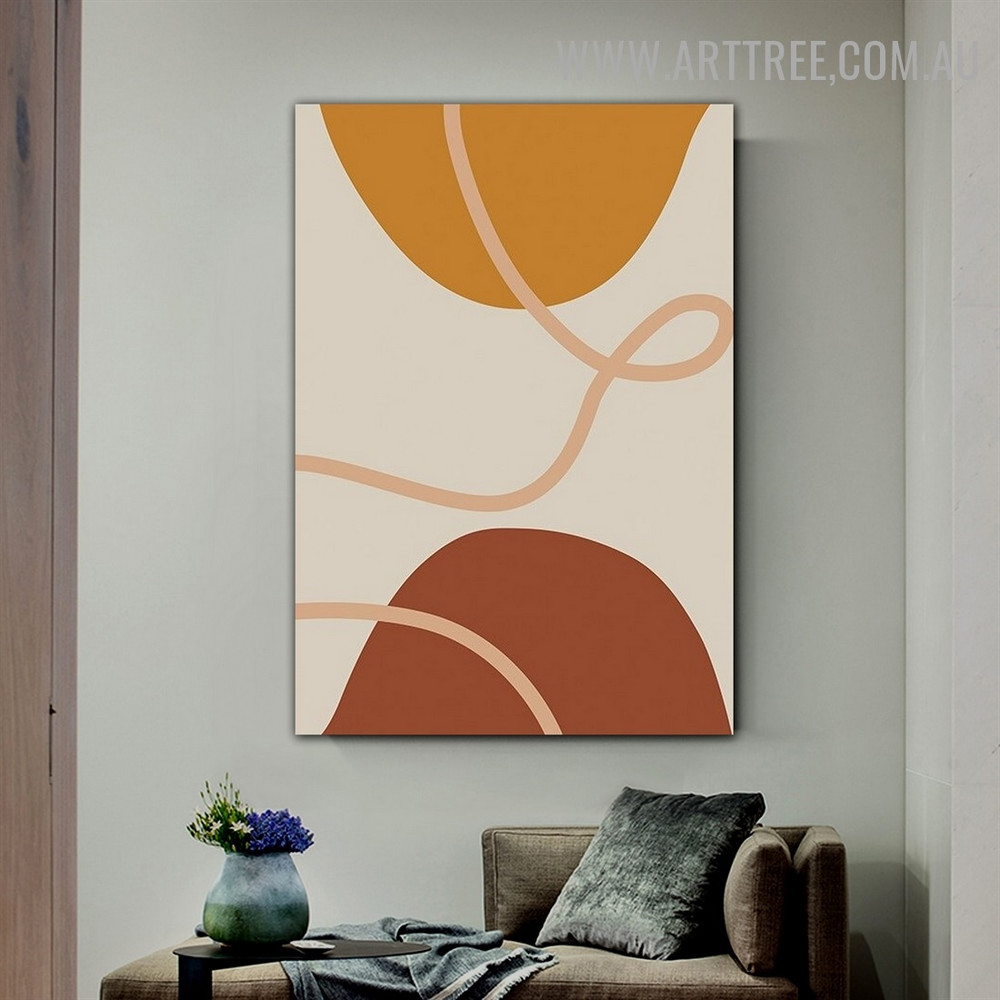 Circuitous Lineament Semi Circles Abstract Geometrical Scandinavian Painting Pic Canvas Print for Room Wall Moulding