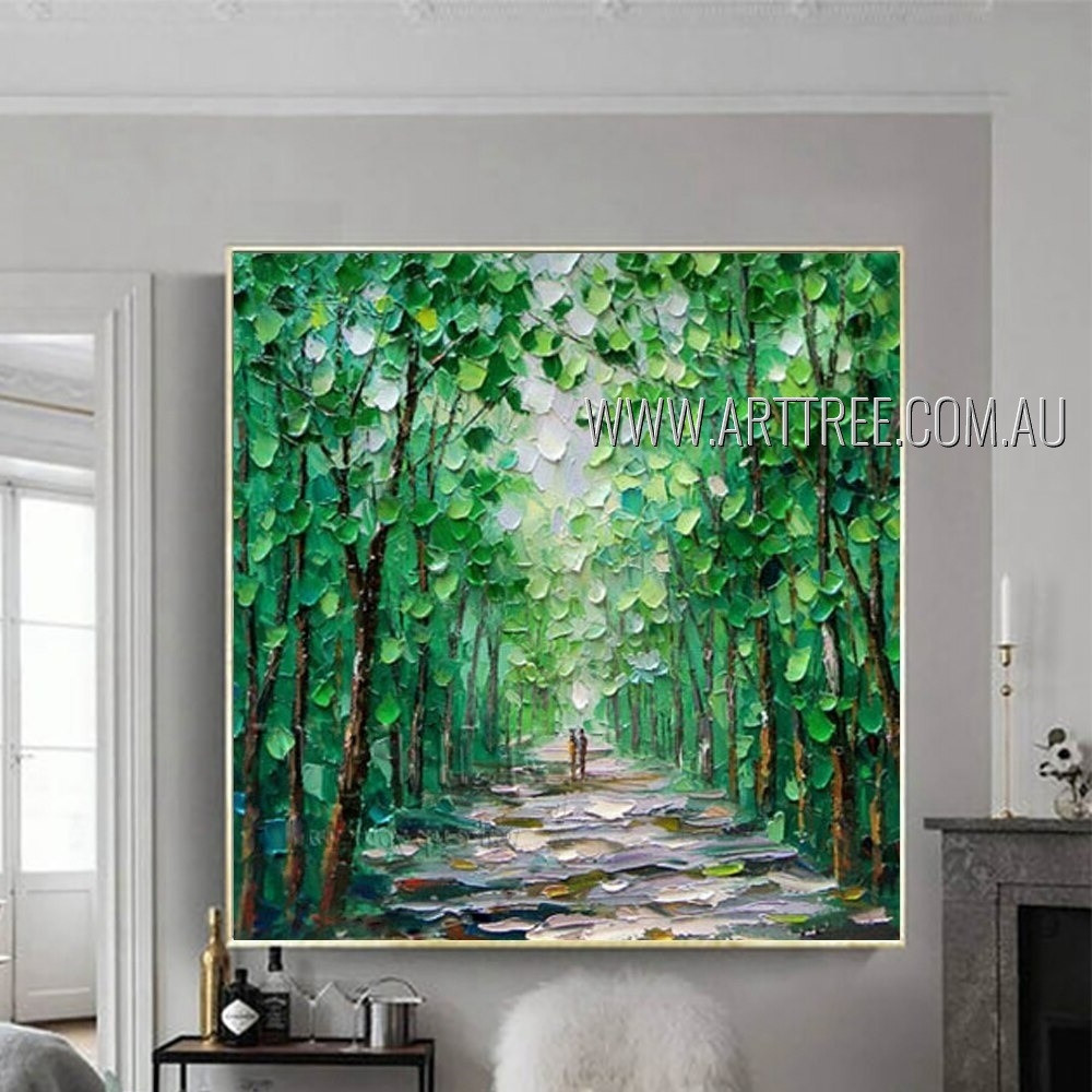 Green Forest Landscape Modern Heavy Texture Artist Handmade Nature Artwork For Room Wall Outfit