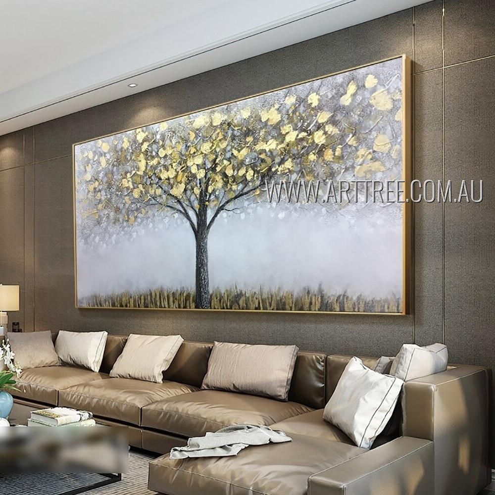 Golden Trees Vintage Heavy Texture Artist Handmade Palette Knife Abstract Art Painting For Room Garnish
