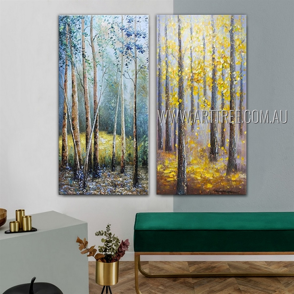 Colorful Forest Nature Landscape Modern Heavy Texture Artist Handmade 2 Piece Multi Panel Canvas Oil Painting Wall Art Set For Room Decor
