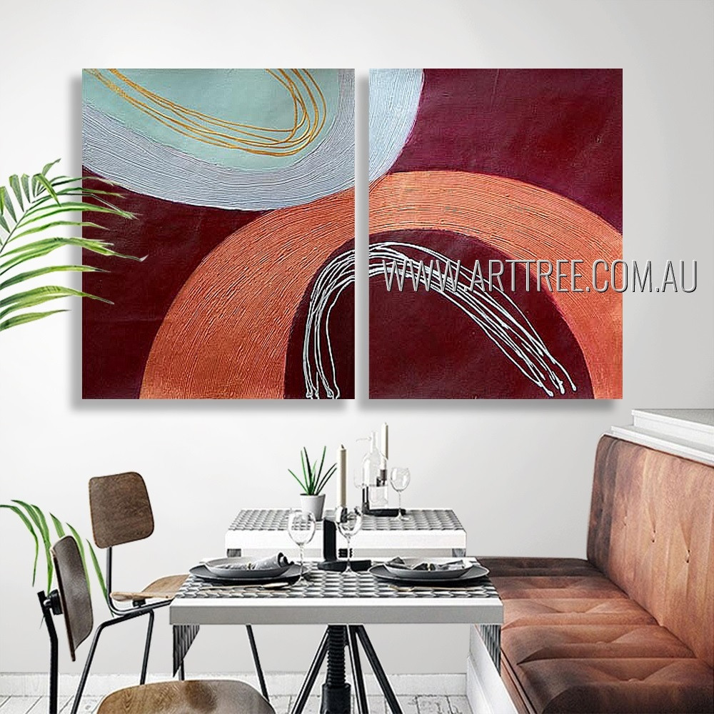 Voluminous Streak Abstract Modern Heavy Texture Artist Handmade 2 Piece Split Canvas Paintings Wall Art Set For Room Outfit