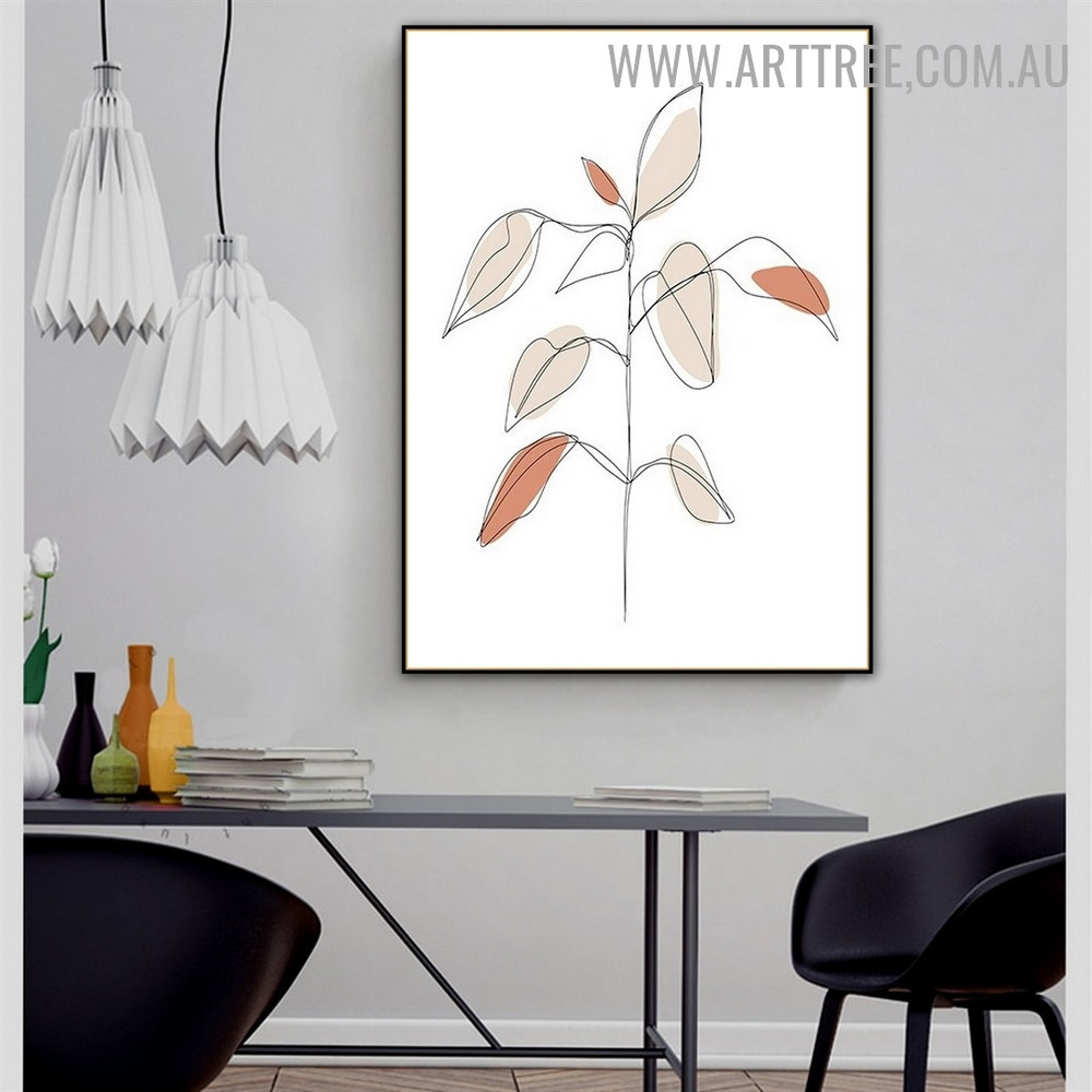 Splotch Leafage Scandinavian Floral Abstract Photo Canvas Print for Room Wall Garniture