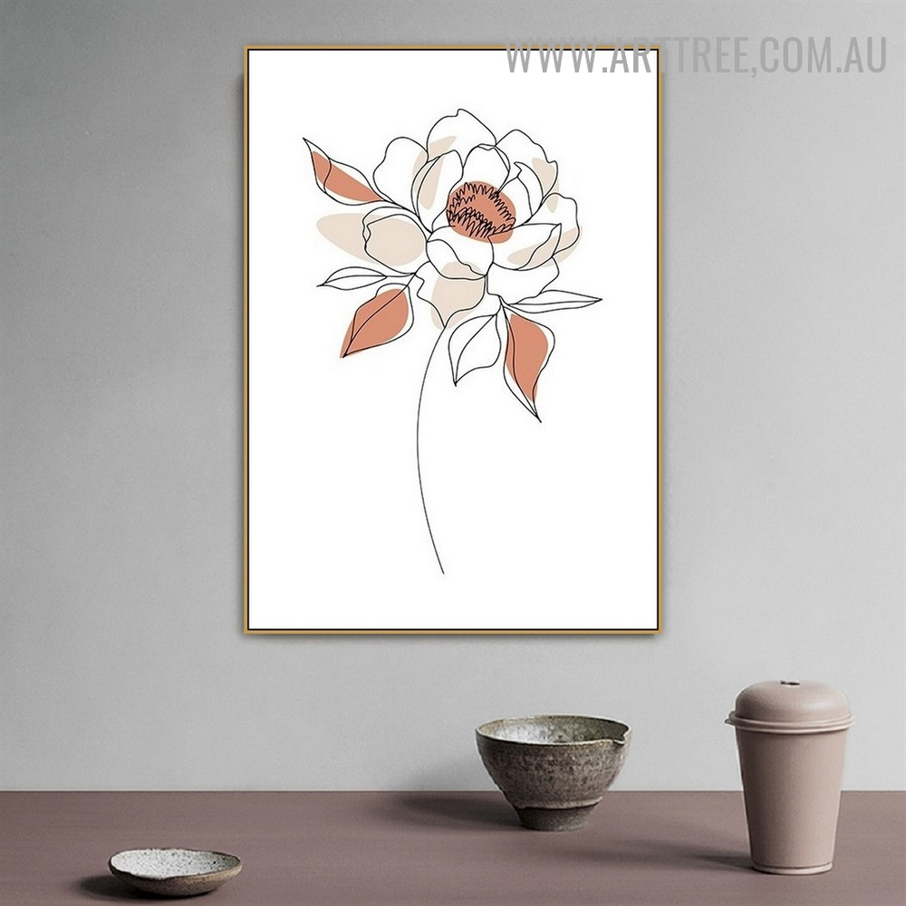 Peony Daffodil Leaflet Scandinavian Painting Picture Abstract Floral Canvas Print for Room Wall Assortment