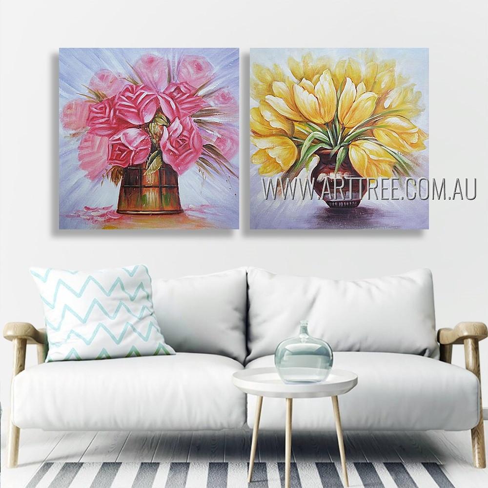 Colorful Flower Pots Floral Modern Heavy Texture Artist Handmade 2 Piece Multi Panel Canvas Oil Painting Wall Art Set For Room Flourish