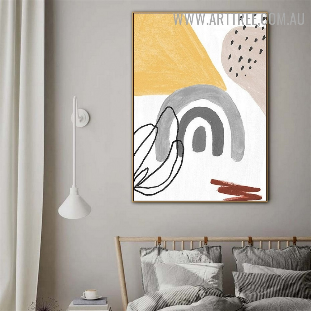 Curvy Daubs Spots Abstract Artwork Photograph Geometrical Watercolor Canvas Print for Room Wall Getup