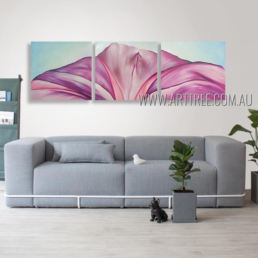 Half Flower Design Floral Abstract Modern Heavy Texture Artist Handmade 3 Piece Split Canvas Paintings Wall Art Set For Room Finery