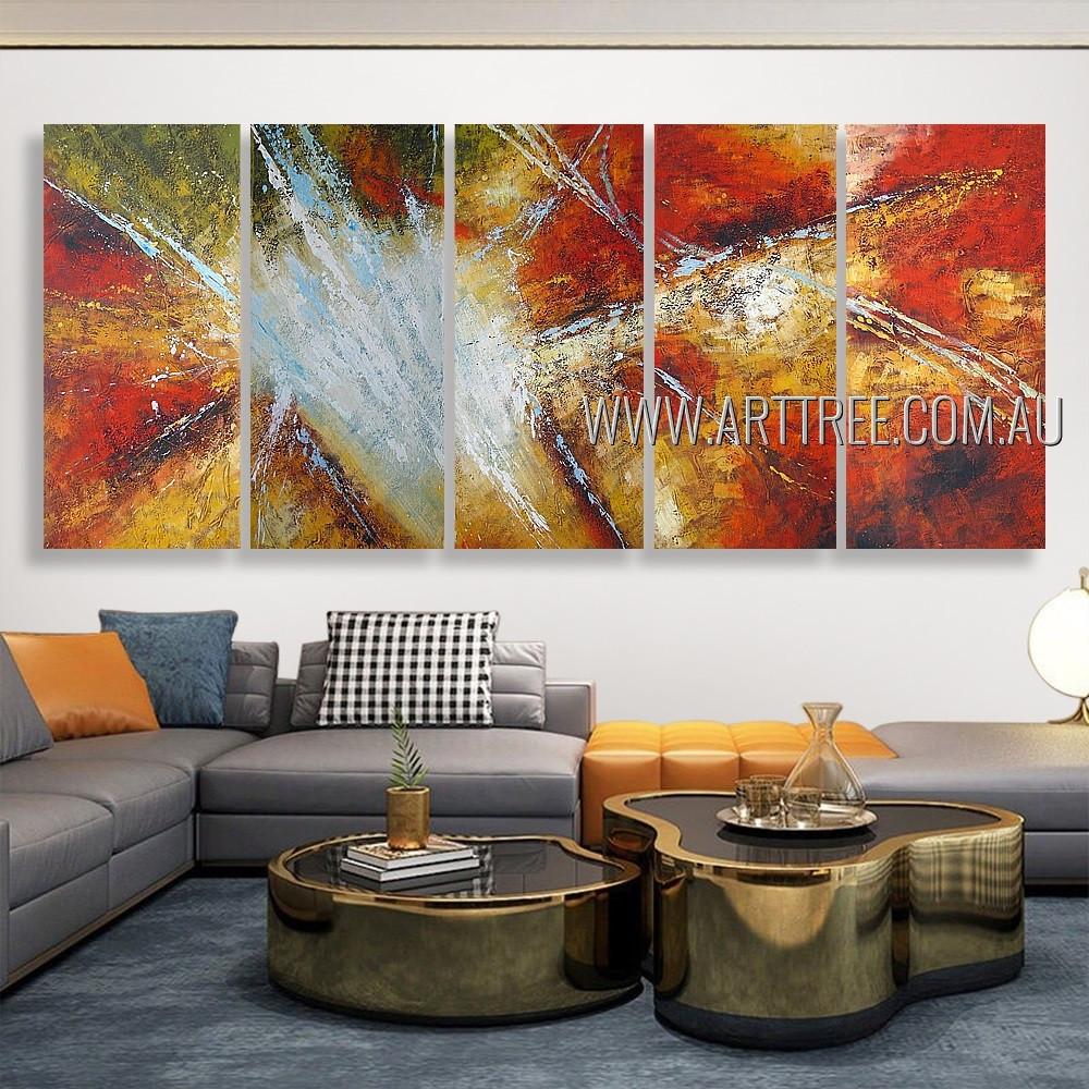 Dapple Smudges Abstract Modern Heavy Texture Artist Handmade 5 Piece Multi Panel Oil Paintings Wall Art Set For Room Garniture