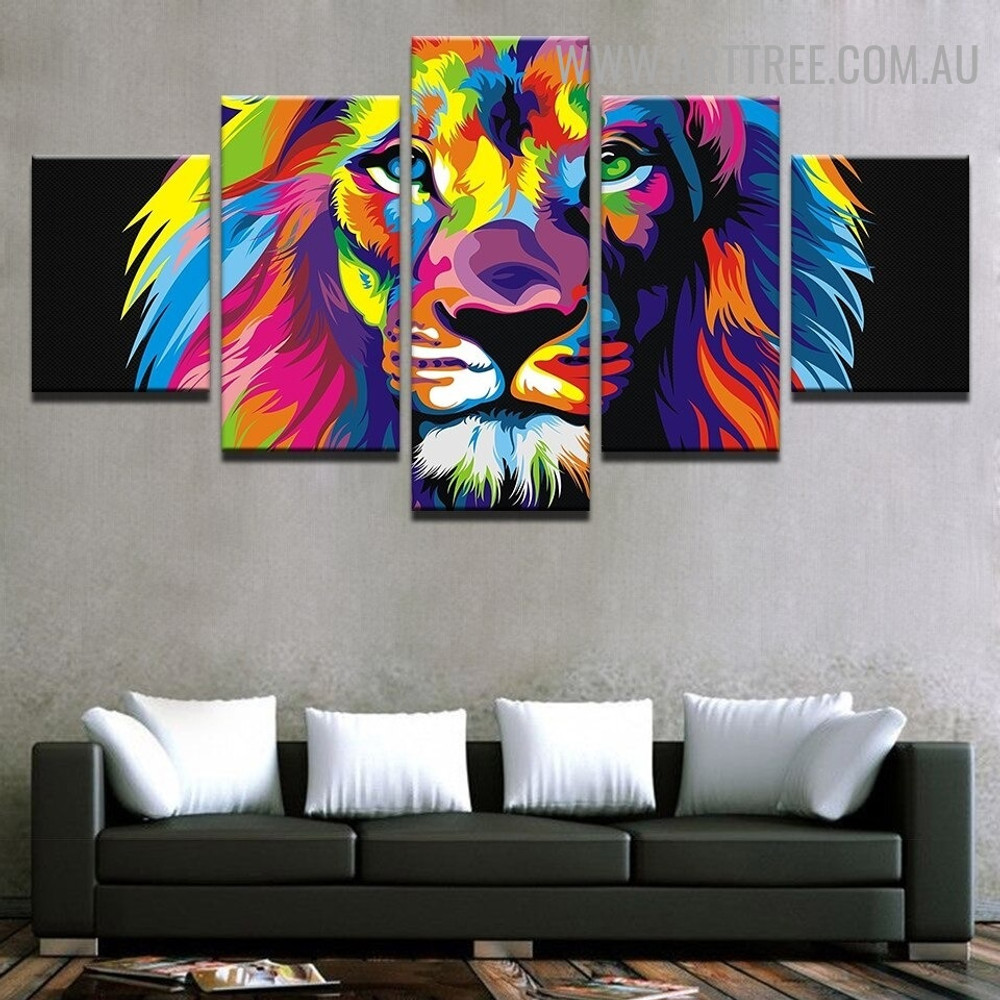 Motley Lion Face Animal Modern 5 Piece Over Size Artwork Image Canvas Print for Room Wall Disposition