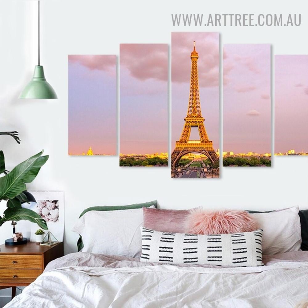 Eiffel Tower Trees Landscape Modern 5 Piece Floret Large Size Artwork Image Canvas Print for Room Wall Garniture