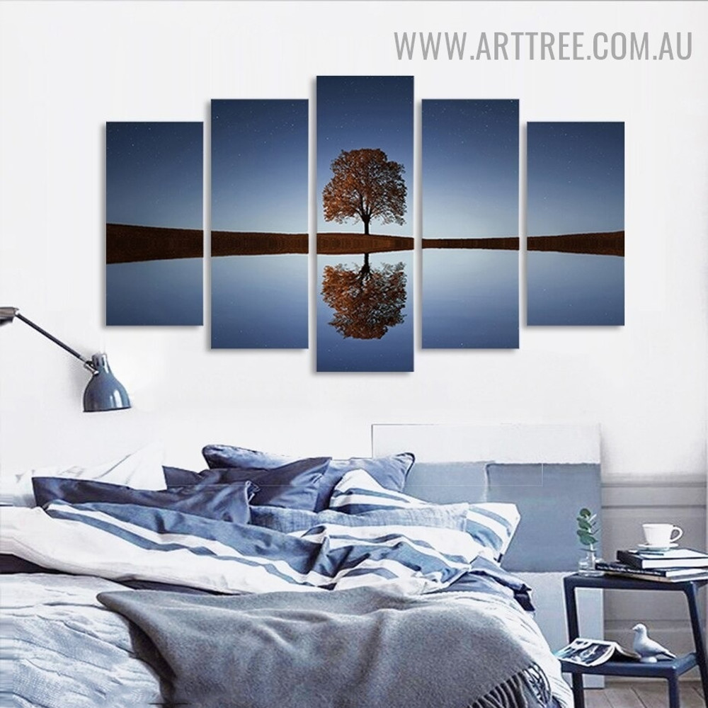 Arbor Reflection Sky Naturescape Modern 5 Piece Multi Panel Floret Image Canvas Painting Print for Room Wall Assortment