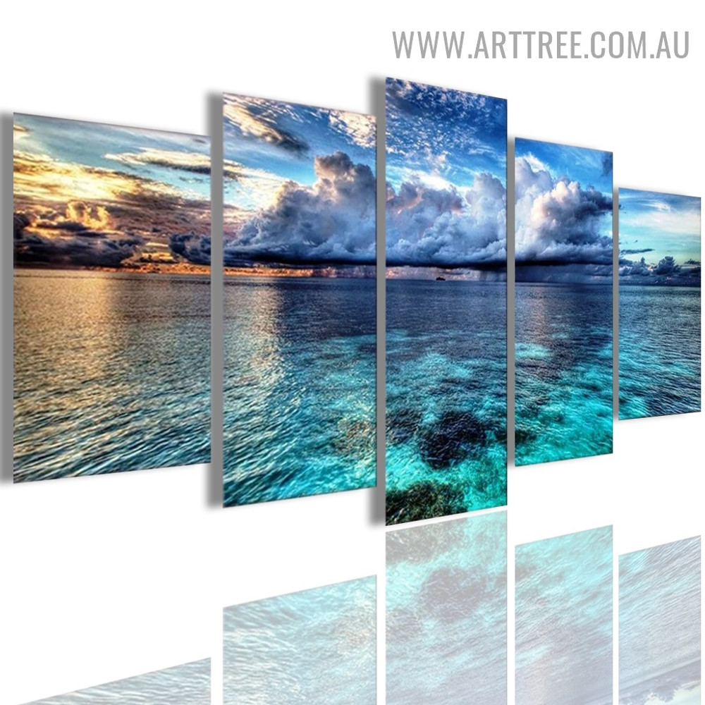 Blue Ocean Water Waves Modern 5 Multi Panel Naturesape Image Canvas Painting Print for Room Wall Ornament