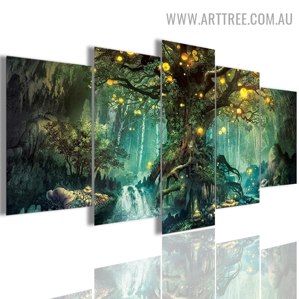 Enchanted Tree Scenery Land Landscape Modern 5 Piece Multi Panel Image Floret Canvas Painting Print for Room Wall Molding
