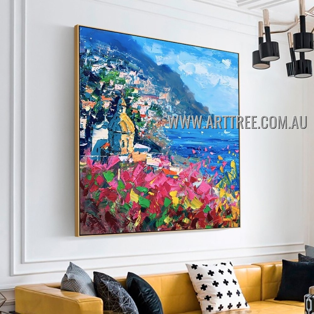 Colorful City Landscape Modern Heavy Texture Artist Handmade Abstract Acrylic Painting for Room Getup