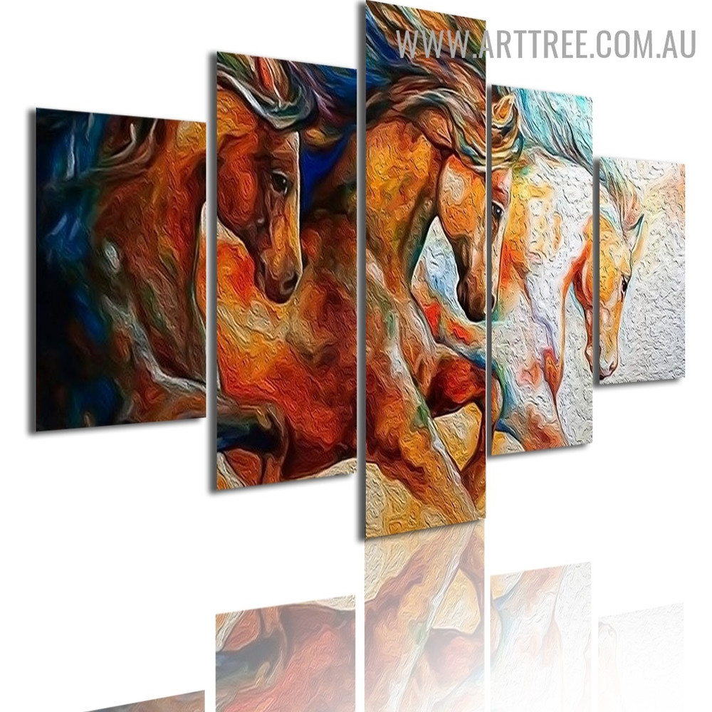 Hued Horses Animal Modern 5 Piece Large Canvas Wall Art Image Canvas Print for Room Getup