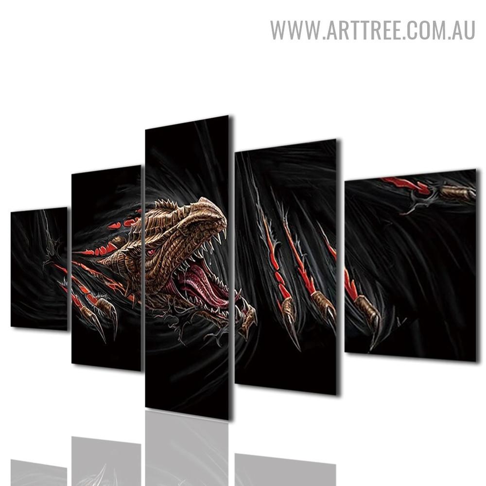 Dragon Modern Animal 5 Piece Abstract Split Painting Image Canvas Print for Room Wall Onlay