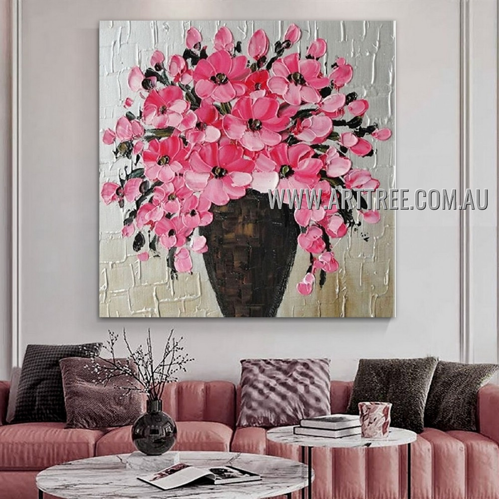 Flower Pot Modern Abstract Heavy Texture Artist Handmade Floral Wall Art Painting for Room Ornament