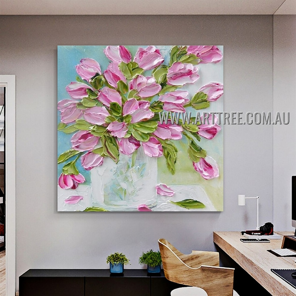 Daffodil Pot Floral Abstract Heavy Texture Artist Handmade Modern Wall Art Painting for Room Drape