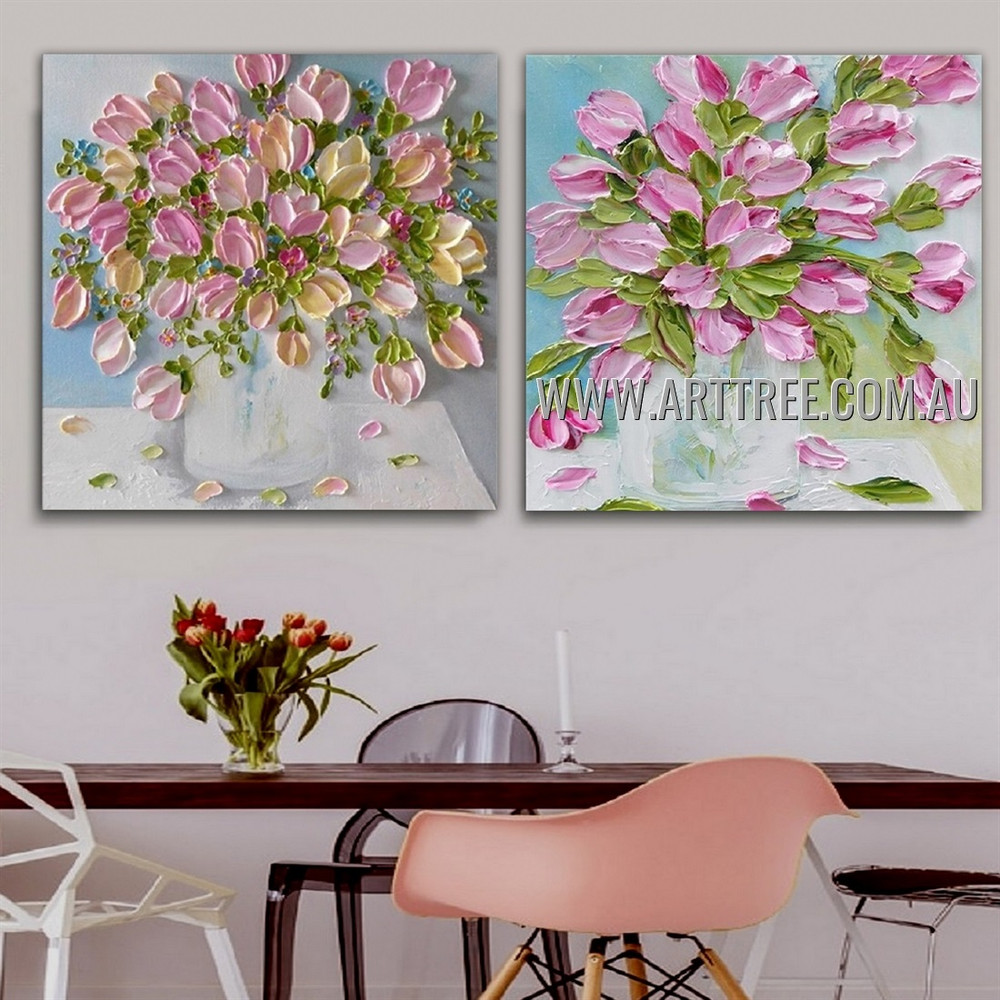 Rosy Daffodil Pot Floral Abstract Modern Heavy Texture Artist Handmade 2 Piece Split Panel Canvas Painting for Room Adornment
