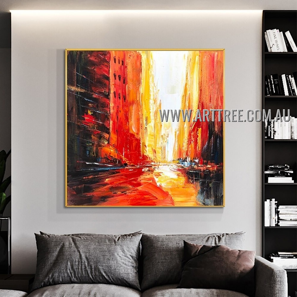 Chequered Edifices City Architecture Modern Heavy Texture Artist Handmade Abstract Art Painting for Room Ornament