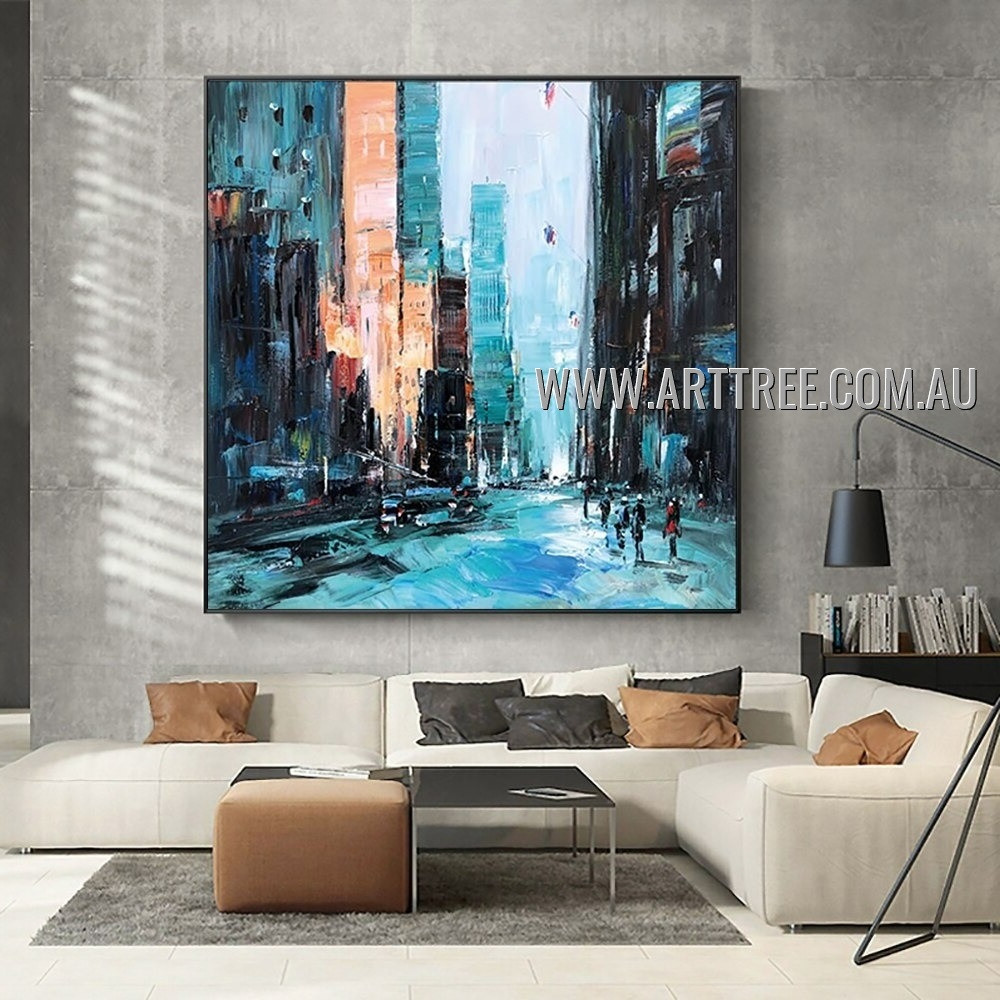 Colorful Piles Architecture Modern City Heavy Texture Artist Handmade Abstract Art Painting for Room Adornment