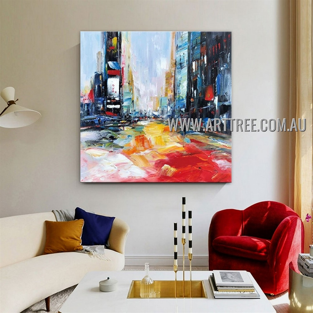 Colored Buildings Architecture City Modern Heavy Texture Artist Handmade Abstract Artwork Painting for Room Garnish