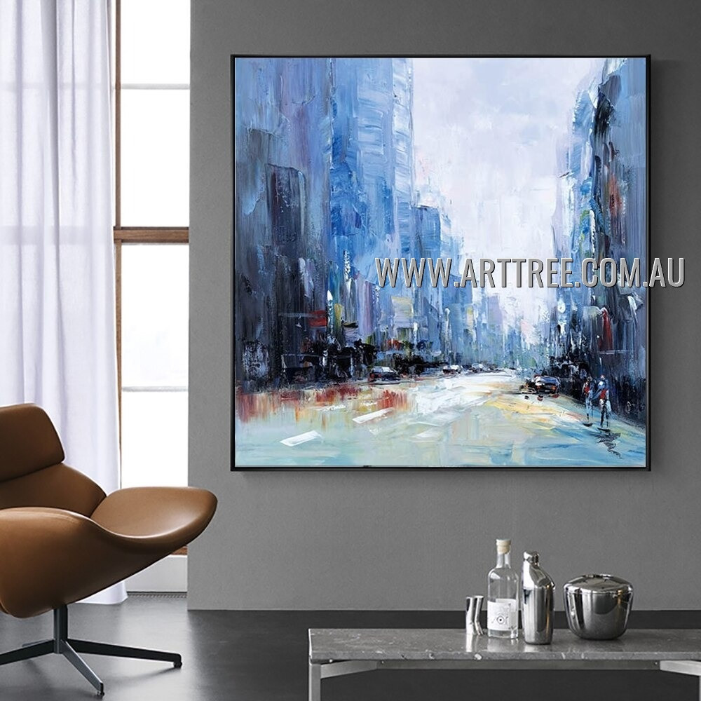 Street View City Architecture Abstract Heavy Texture Artist Handmade Modern Wall Art Painting for Room Spruce