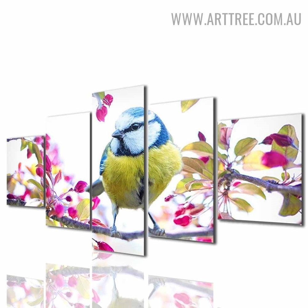Colourful Bird Flowers Modern Floral 5 Piece Split Painting Image Canvas Print for Room Wall Decor