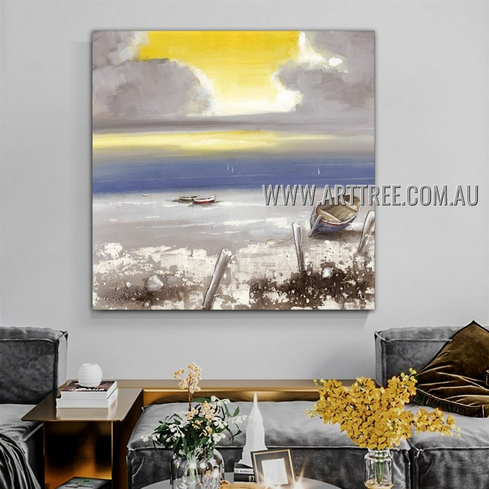 Sea and Boat Seascape Abstract Heavy Texture Artist Handmade Modern Wall Art Painting for Room Adornment
