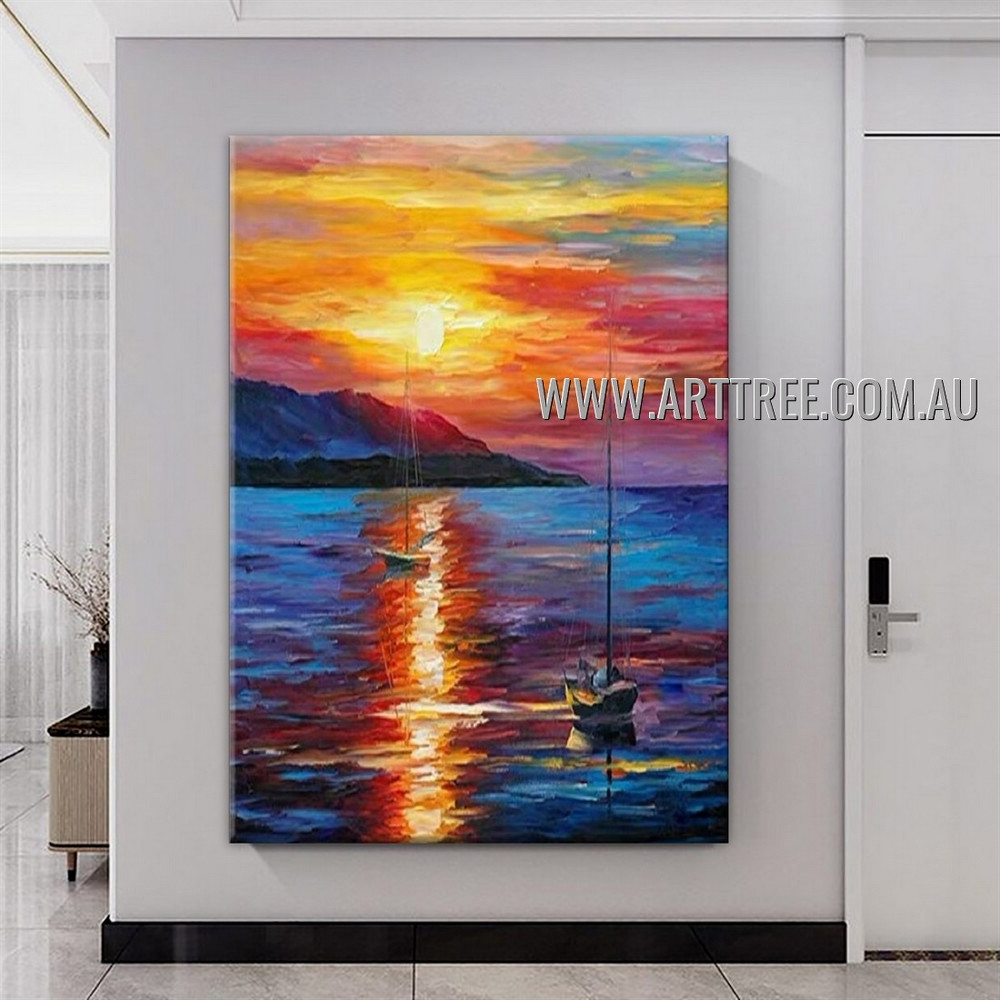 Colorful Sunset Modern Heavy Texture Artist Handmade Abstract Landscape Painting for Room Garniture