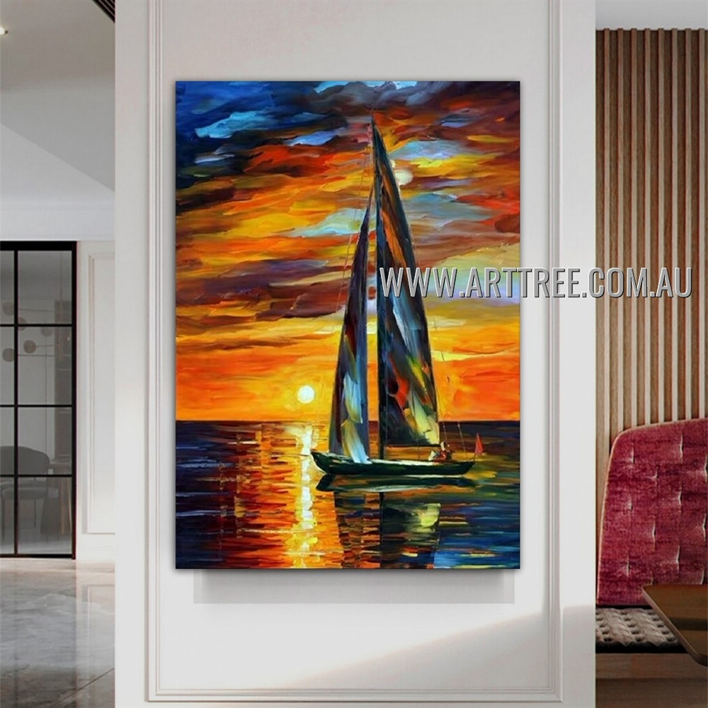Sailing with the Sun Seascape Heavy Texture Artist Handmade Contemporary Art Painting for Room Garniture