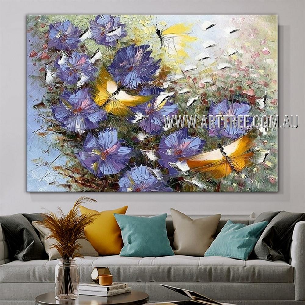 Yellow Flying Butterflies Modern Floral Artist Handmade Heavy Texture Animal Art Painting for Room Garniture