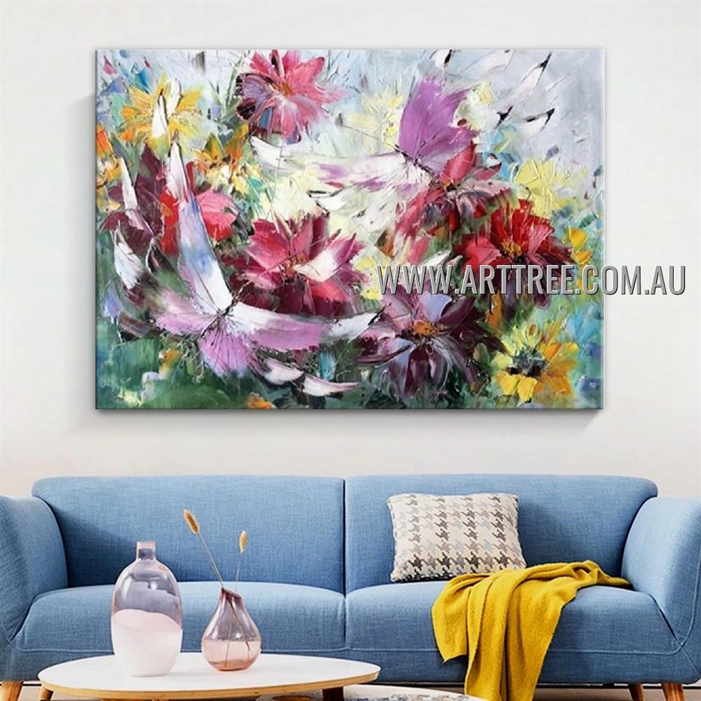 Pink Butterfly Modern Floral Artist Handmade Heavy Texture Animal Art Painting for Room Garniture