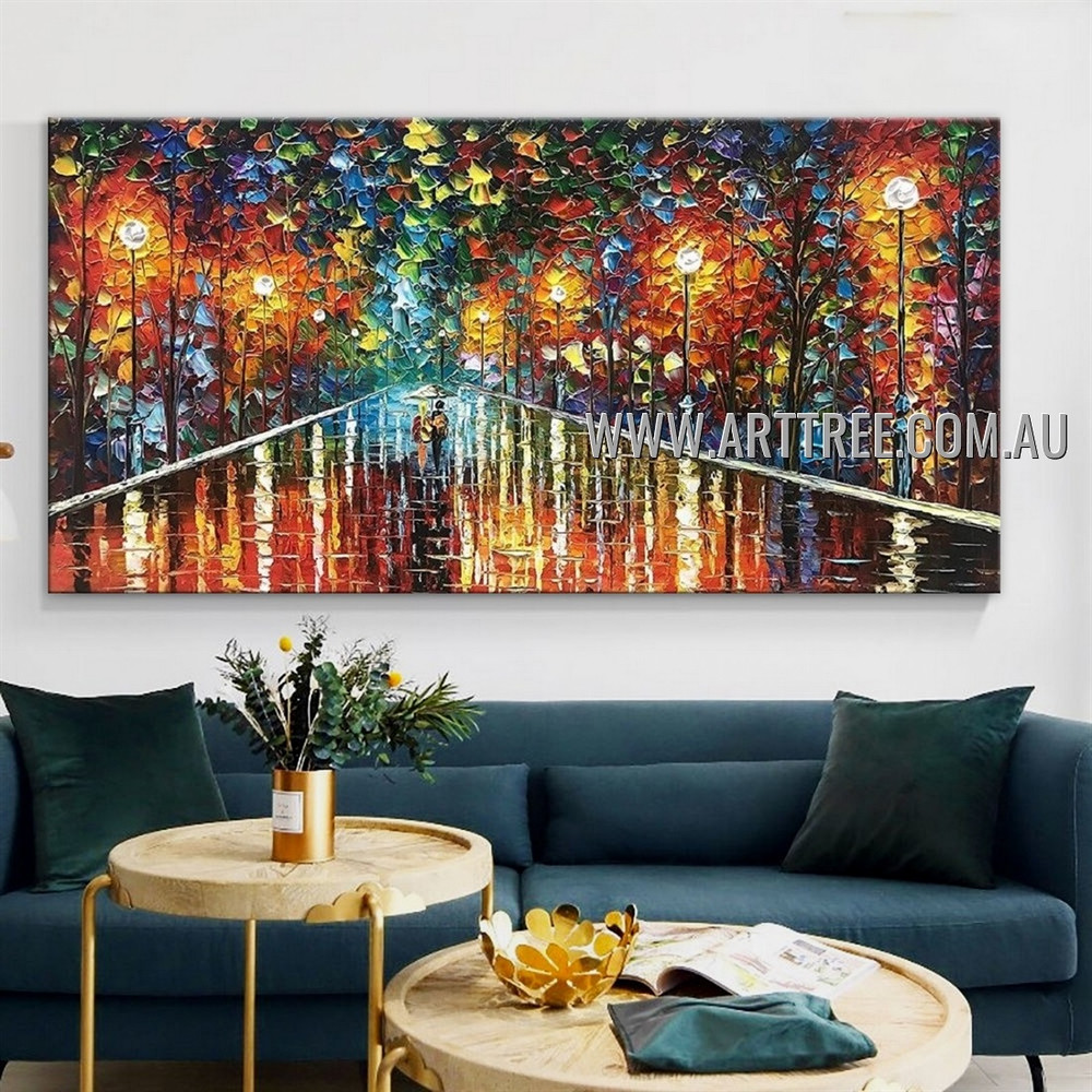 Colorific Runway Tree Botanical Abstract Heavy Texture Artist Handmade Modern Wall Art Painting for Room Ornament