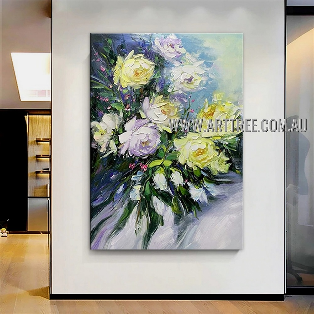 Multicolored Floweret Floral Abstract Heavy Texture Artist Handmade Modern Art Painting for Room Decoration