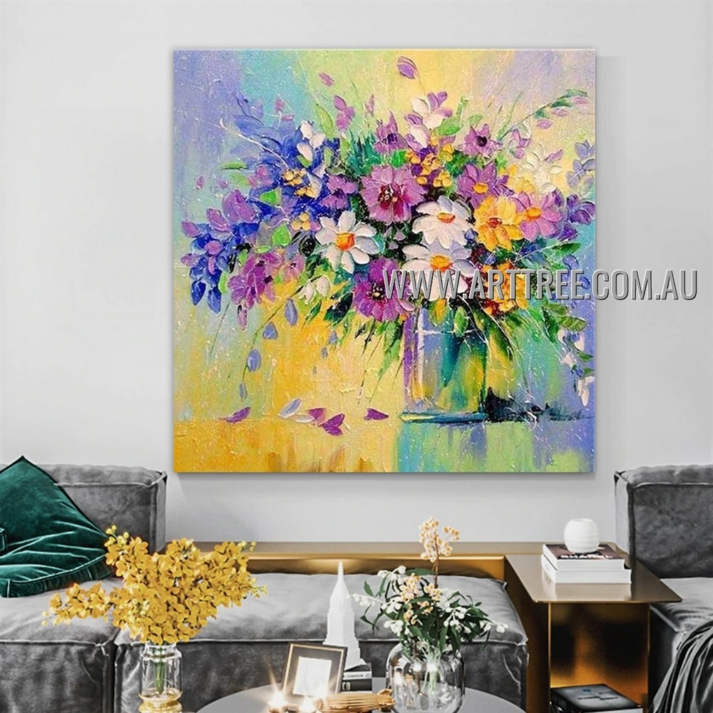 Motley Blossoms Flowerpot Floral Artist Handmade Heavy Texture Modern Art Painting for Room Ornament