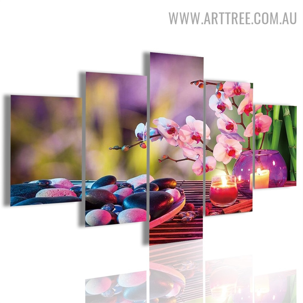 Glass Candles Roundly Stones Abstract Floral Modern 5 Piece Large Canvas Wall Art Image Canvas Print for Room Finery