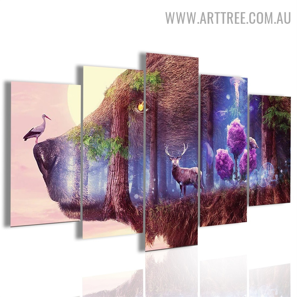 Forest Bird Trees Animal 5 Piece Multi Panel Floral Modern Image Canvas Art Print for Room Wall Outfit