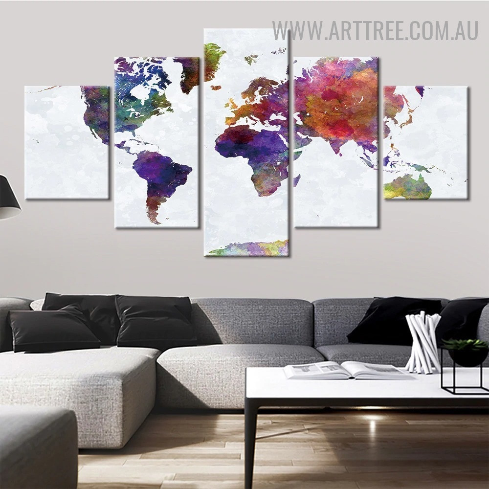 Colourful World Map Abstract Modern 5 Piece Split Artwork Seascape Image Canvas Print for Room Wall Tracery