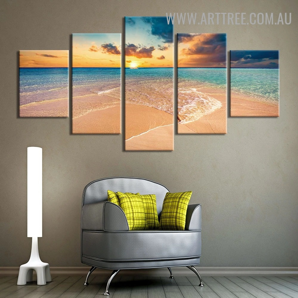 Beach Serum Water Modern Landscape 5 Piece 0ver Size Seascape Artwork Image Canvas Print for Room Wall Disposition
