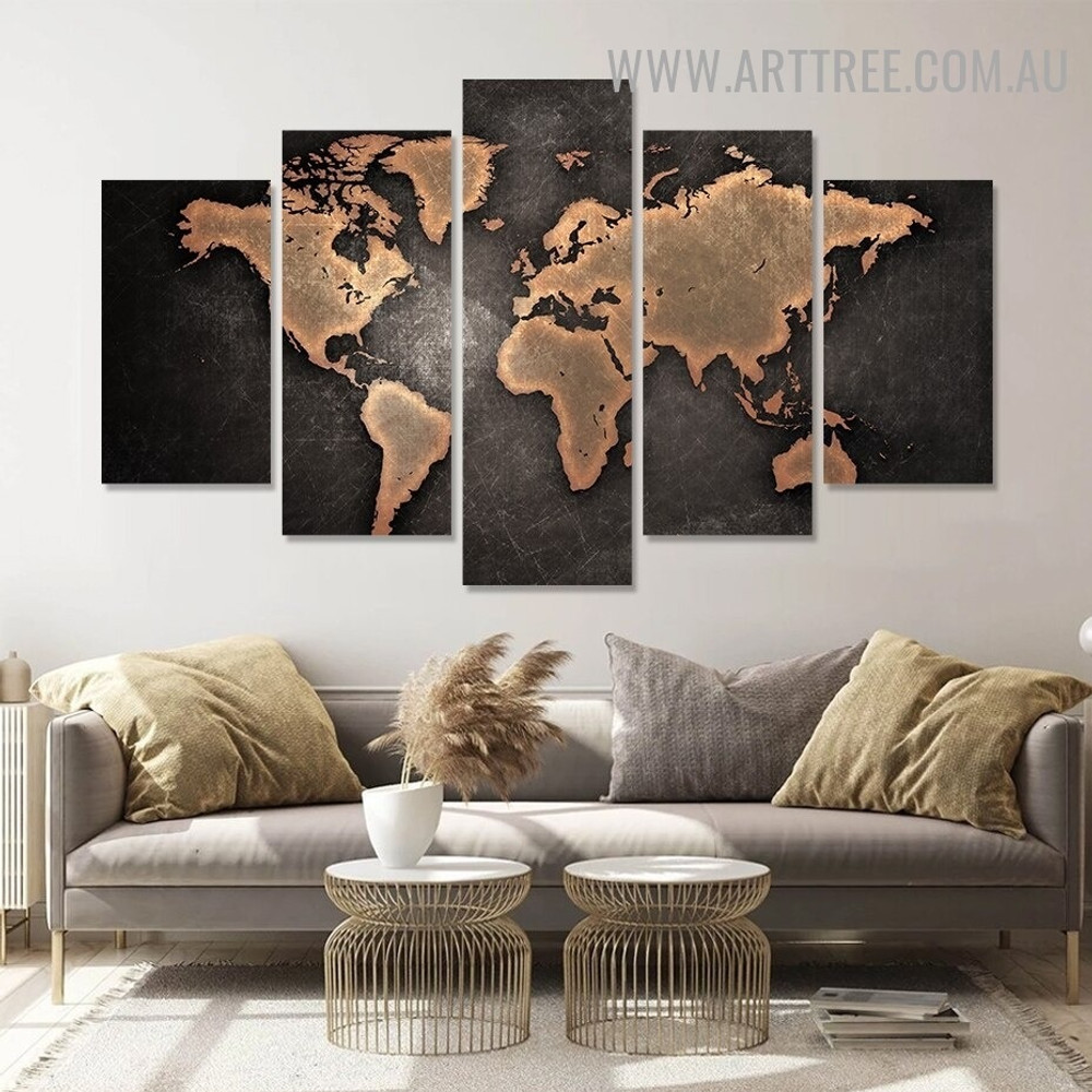 Rustic World Map Abstract Modern 5 Piece Over Size Art Image Canvas Print for Room Wall Assortment