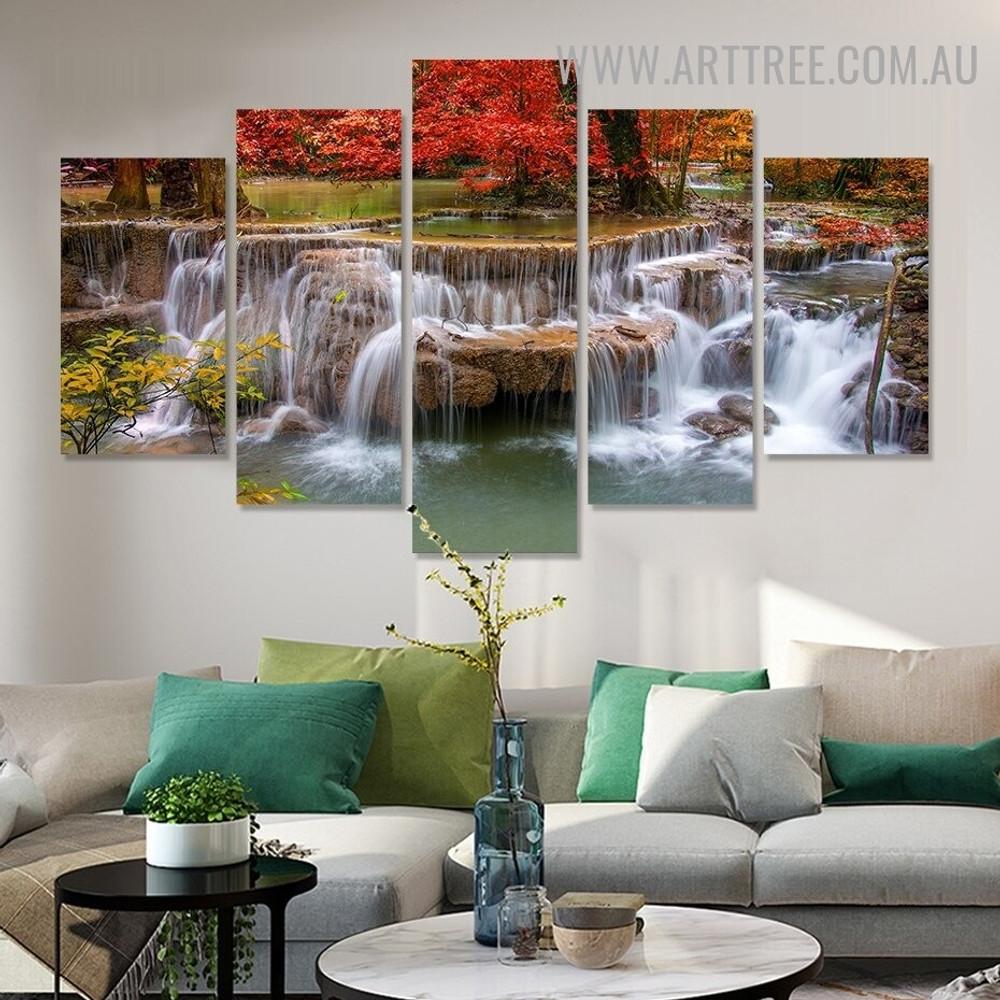 Riverain Fountain Water Landscape Modern 5 Piece Split Panel Artwork Image Canvas Print for Room Wall Getup