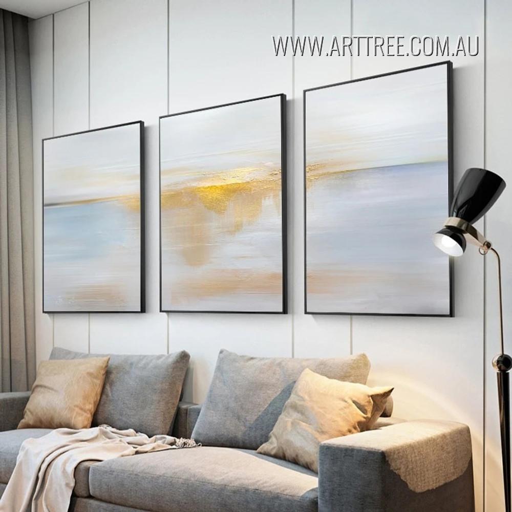 Auburn Smear Abstract Modern Heavy Texture Framed 3 Piece Canvas Wall Art Decor Set For Room Getup