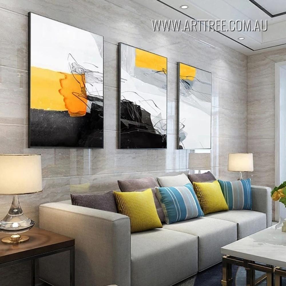 Motley Streaks Speck Abstract Modern Heavy Texture Artwork Framed 3 Piece Wall Art Set For Room Onlay
