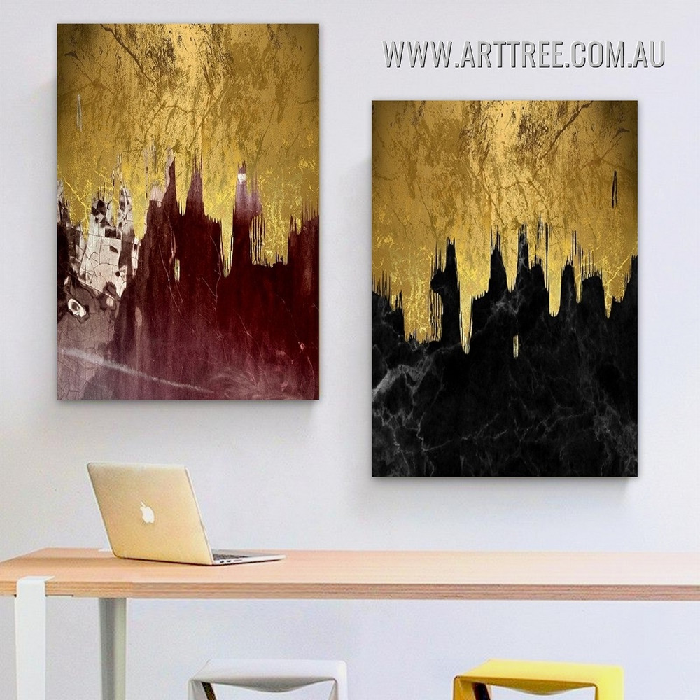 Calico Smears Marble Modern Abstract 2 Panel Framed Artwork Picture Canvas Print for Room Wall Embellishment
