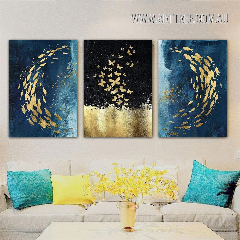 Golden Muscles Spots Animal Stretched Painting Modern Abstract Pic 3 Piece Canvas Print for Room Wall Getup