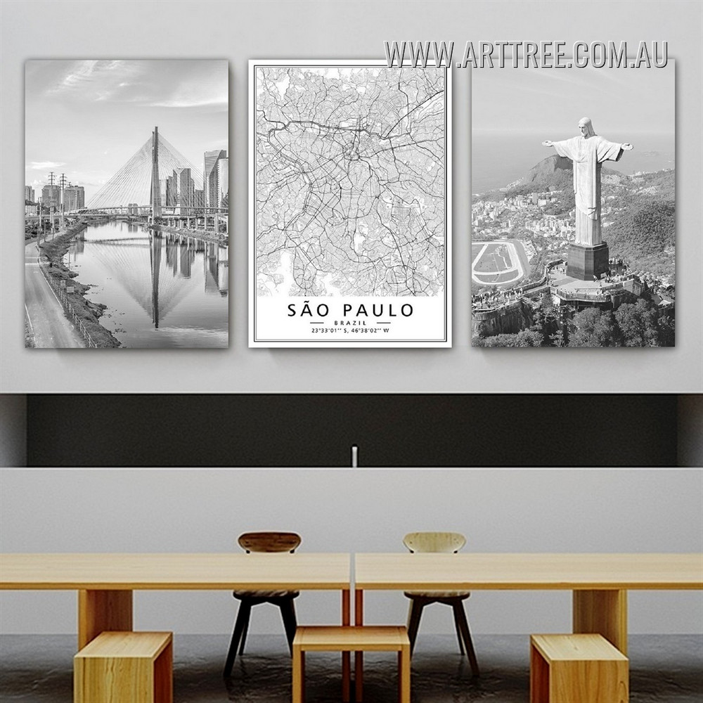 Christ The Redeemer Buildings Modern Painting Image Framed 3 Piece Cityscape Canvas Print for Room Wall Tracery