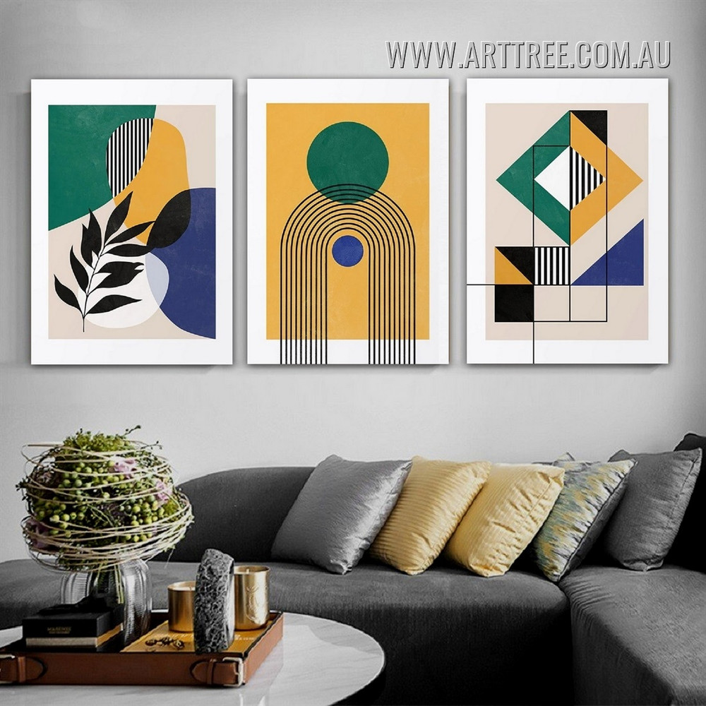 Circular Tarnish Lineament Leaves Geometric Modern 3 Piece Framed Abstract Painting Photograph Canvas Print for Room Wall Outfit