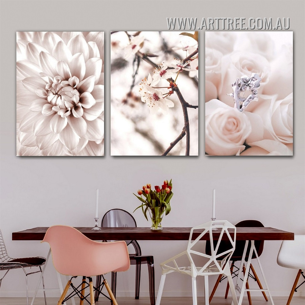 Floret Wedding Ring Rose Floral Wall Art Photo Modern 3 Piece Stretched Canvas Print for Room Disposition