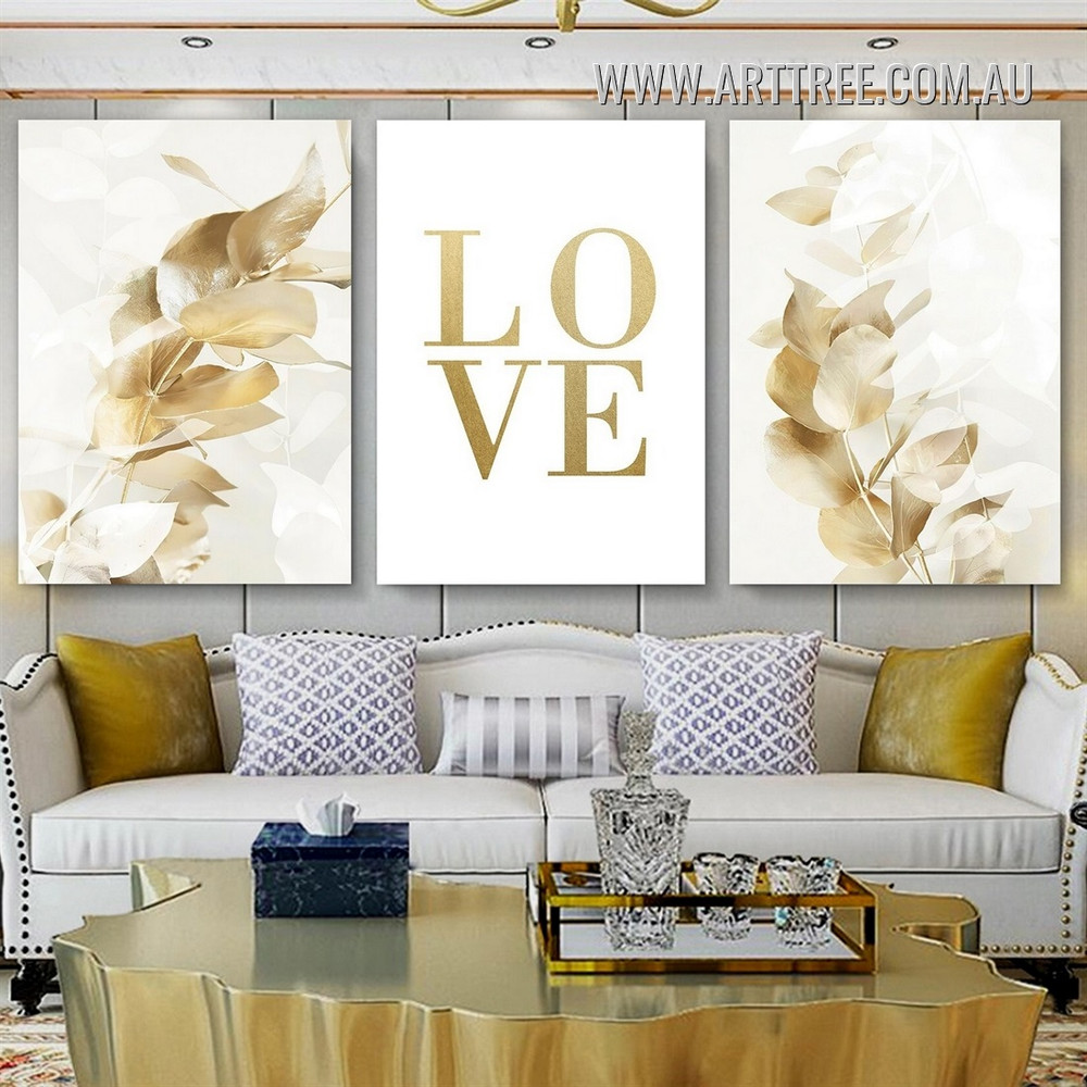 Golden Eucalyptus Leafage Scandinavian Minimalist Typography Stretched Artwork Photo 3 Panel Canvas Print for Room Wall Disposition